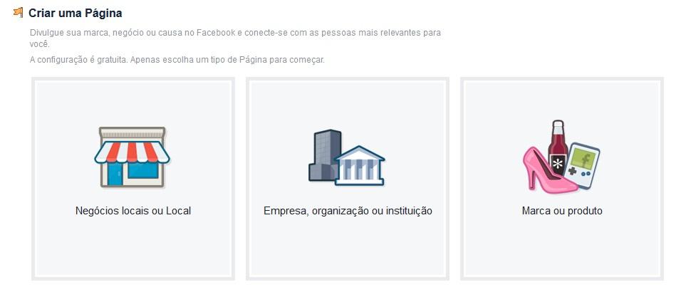 Facebook tipo de página