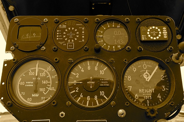 Painel de medidores de um avião. Sua função para aeronaves é análoga aos KPIs para marketing digital.